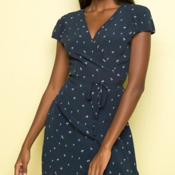 ba85d0e0bf Brandy Melville Dresses   Skirts - Brandy Melville Robbie Wrap Dress Navy  Palm Tree